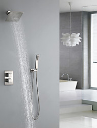 cheap -Shower Faucet - Contemporary Nickel Brushed Wall Installation Brass Valve Bath Shower Mixer Taps / Two Handles Three Holes