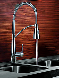 cheap -Kitchen faucet - Single Handle One Hole Chrome Pull-out / ­Pull-down Vessel Contemporary Kitchen Taps / Brass