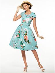 cheap -Audrey Hepburn Retro Vintage 1950s 1960s Wasp-Waisted Dress Women's Costume Green / LightBlue Vintage Cosplay Short Sleeve Knee Length