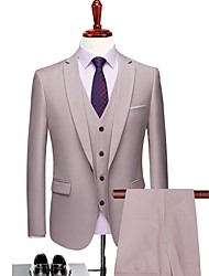 cheap -Milky White Solid Colored Tailored Fit Polyester Suit - Notch Single Breasted One-button / Suits