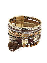 cheap -100pcs Women's Leather Bracelet Fancy Fashion British Leather Bracelet Jewelry Black / Gray / Brown For Gift Daily