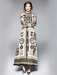 cheap -Women's Going out / Work Street chic Maxi A Line Dress - Floral Shirt Collar Fall Rainbow L XL XXL
