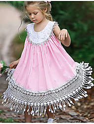 cheap -Kids Girls' Sweet Daily Solid Colored Tassel Sleeveless Midi Dress Blushing Pink