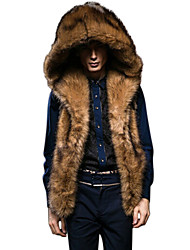 cheap -Men's Daily Winter Regular Fur Coat, Solid Colored Hoodie Sleeveless Faux Fur Brown