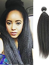 cheap -6 Bundles kinky Straight Human Hair Unprocessed Human Hair Headpiece Natural Color Hair Weaves / Hair Bulk Hair Care 8-28 inch Natural Color Human Hair Weaves Fashionable Design Smooth Extention / 8A