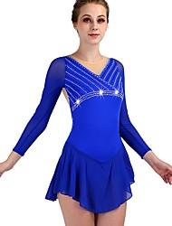 cheap -Figure Skating Rhinestone Bodysuit / Ice Skating Women's / Girls' Training Chinlon / Tulle Crystals / Rhinestones Long Sleeve High Dress