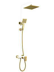 cheap -Shower System Set - Rainfall Antique Painted Finishes Wall Mounted Ceramic Valve Bath Shower Mixer Taps / Brass