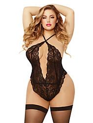 cheap -Women's Lace / Backless Plus Size Super Sexy Teddy / Bodysuits Nightwear Solid Colored Black XXXL XXXXL XXXXXL / Halter Neck