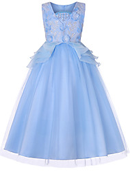 cheap -Cinderella Dress Masquerade Flower Girl Dress Girls' Movie Cosplay A-Line Slip Cosplay Vacation Dress White / Purple / Blue Dress Halloween Carnival Masquerade Tulle Polyester