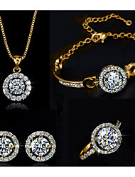 cheap -Women's Clear Cubic Zirconia Chain Bracelet Pendant Necklace Earrings Tennis Chain Blessed Unique Design Imitation Diamond Earrings Jewelry Gold / Silver For Party Daily 1 set / Ring