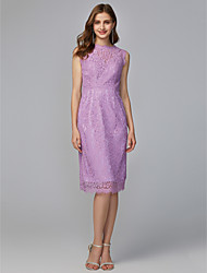 cheap -Sheath / Column Jewel Neck Midi / Knee Length Lace Bridesmaid Dress with Lace