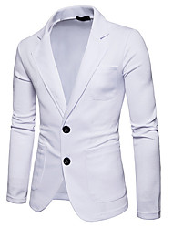 cheap -Men's Daily Business Fall Regular Blazer, Solid Colored Shirt Collar Long Sleeve Polyester Black / Dark Gray / Light gray / Business Casual / Slim