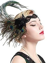 abordables -Gatsby Charleston Rétro Vintage Années 1920 Gatsby Les rugissantes années 20 Casque Bandeau Garçonne Femme Franges Costume Bijoux de Cheveux Vert Vintage Cosplay Soirée Fête scolaire / Coiffure