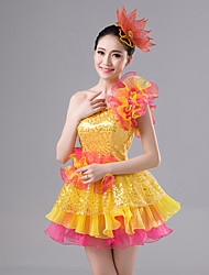 cheap -Elf Carnival Fairy Costume Adults' Women's Ball Gown Slip Halloween Halloween Carnival Masquerade Festival / Holiday Tulle Polyster Yellow Female Carnival Costumes Flower