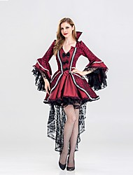 cheap -Witch Women's Adults Adults' Halloween Christmas Christmas Halloween Carnival Festival / Holiday Polyster Outfits Red+Black Solid Colored Christmas