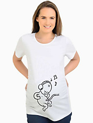 cheap -Women's Maternity Cartoon T-shirt Daily White
