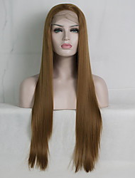 cheap -Synthetic Lace Front Wig Straight Free Part Lace Front Wig Blonde Long Golden Brown / Ash Blonde Synthetic Hair 18-26 inch Women's Adjustable Lace Heat Resistant Blonde
