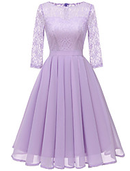 cheap -Women's Lace Going out Sheath Dress - Solid Color Lace Pleated Lace Purple Blushing Pink Yellow S M L XL