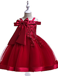 cheap -Princess Dress Girls' Movie Cosplay New Year's Yellow Red Blue Skirt Christmas Halloween New Year Polyester / Cotton Polyester
