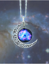 cheap -Pendant Necklace Women's Stardust Cubic Zirconia Multicolor Moon Galaxy Stylish Artistic Unique Design Cute Red / Blue Dark Red Pink / Blue Black Purple Red 45 cm Necklace Jewelry 1pc for Daily
