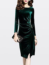 cheap -Women's Velvet Plus Size Green Black Dress Fall Going out Sheath Solid Colored M L