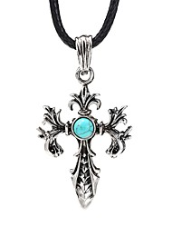 cheap -Men's Blue Turquoise Pendant Necklace Vintage Necklace Retro Engraved Cross fleur de lis Vintage Cord Alloy Black 99 cm Necklace Jewelry 1pc For Daily Street
