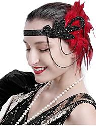 cheap -The Great Gatsby Charleston Vintage 1920s The Great Gatsby Headpiece Flapper Headband Women's Tassel Costume Head Jewelry Golden / Black with White / White Vintage Cosplay / Headwear / Headwear