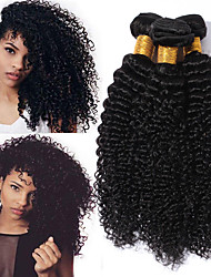 cheap -4 Bundles Kinky Curly Human Hair Unprocessed Human Hair Headpiece Natural Color Hair Weaves / Hair Bulk Hair Care 8-28 inch Black Natural Color Human Hair Weaves Waterfall Soft Party Human Hair / 8A