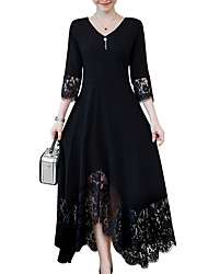 cheap -Women's A-Line Dress Maxi long Dress - Long Sleeve Black Solid Colored Lace Trims Spring Fall V Neck Plus Size Black L XL XXL 3XL 4XL 5XL 6XL