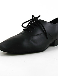 cheap -Men's Modern Shoes / Ballroom Shoes Cowhide Lace-up Flat Plain Top Flat Heel Customizable Dance Shoes Black