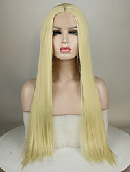 cheap -Synthetic Lace Front Wig Curly Middle Part Lace Front Wig Blonde Long Light golden Synthetic Hair 18-26 inch Women's Adjustable Lace Heat Resistant Blonde