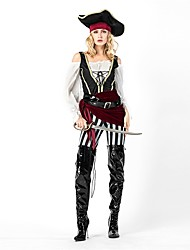 cheap -Pirate Women's Adults Adults' Halloween Christmas Christmas Halloween Carnival Festival / Holiday Polyster Outfits Black Solid Colored Christmas
