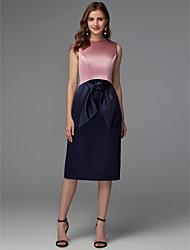 cheap -Sheath / Column Jewel Neck Tea Length Satin Chic & Modern / Elegant Cocktail Party / Holiday Dress 2020 with Bow(s) / Sash / Ribbon