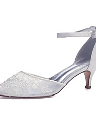 cheap -Women's Wedding Shoes Mesh Kitten Heel Pointed Toe Sparkling Glitter Satin / Mesh Sweet Spring & Summer White / Ivory / Party & Evening