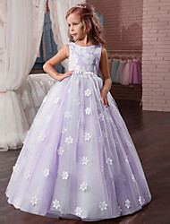 cheap -Princess Dress Masquerade Flower Girl Dress Girls' Movie Cosplay A-Line Slip Cosplay Vacation Dress White / Light Purple / Pink Dress Halloween Carnival Masquerade Tulle Polyester