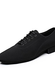 cheap -Men's Modern Shoes / Ballroom Shoes Canvas Lace-up Heel Thick Heel Customizable Dance Shoes Black / Performance
