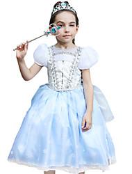 cheap -Princess Cinderella Cosplay Costume Flower Girl Dress Kid's Girls' A-Line Slip Active Halloween Christmas Halloween Carnival Festival / Holiday Silk Organza LightBlue Carnival Costumes Lace / Cotton