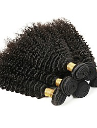 Недорогие -6 Связок Kinky Curly Натуральные волосы Необработанные натуральные волосы Головные уборы Человека ткет Волосы Уход за волосами 8-28 дюймовый Естественный цвет Ткет человеческих волос