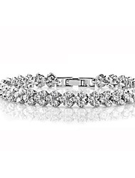 cheap -Women's Cubic Zirconia Chain Bracelet Tennis Bracelet Classic Ladies Fashion Italian Iced Out Copper Bracelet Jewelry White For Daily Holiday / S925 Sterling Silver