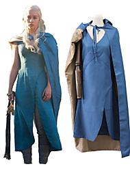 cheap -Game of Thrones Dragon Mother Daenerys Targaryen Khaleesi Cloak Outfits Women's Movie Cosplay Cosplay Blue Outfit Halloween Carnival Masquerade 100% Polyester Plain Twill