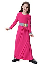 cheap -Kids Girls' Vintage Basic Daily Holiday Solid Colored Floral Long Sleeve Dress Purple