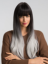 cheap -Synthetic Wig Natural Straight Kardashian With Bangs Wig Very Long Black / Grey Synthetic Hair 24 inch Women's Fashionable Design Synthetic New Arrival Dark Gray Black MAYSU / Ombre Hair