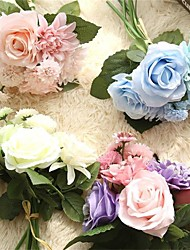 cheap -8 Bunch Silk Flower Wedding Bouquet Roses Dahlias Artificial Flowers Fall Vivid Fake Leaf Wedding Flower Bridal Bouquets Decoration
