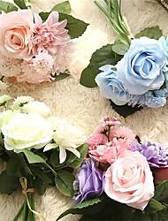 cheap -8 Bunch Silk Flower Wedding  Roses Dahlias Artificial Flowers Fall Vivid Fake Leaf Wedding Flower Bridal s Decoration 30*40cm