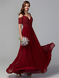cheap -A-Line Spaghetti Strap Floor Length Chiffon / Lace Bridesmaid Dress with Lace / Ruching