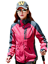 cheap -Women's Hiking Jacket Winter Outdoor Windproof Breathable Rain Waterproof Top Full Length Visible Zipper Camping / Hiking Climbing Cycling / Bike Fuchsia / Army Green / Red / Blue Hiking Jackets