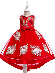 cheap -Princess Asymmetrical / Medium Length Flower Girl Dress - Lace / Tulle / Mikado Sleeveless Jewel Neck with Embroidery by LAN TING Express