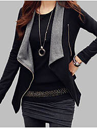 cheap -Women's Daily Fall & Winter Regular Jacket, Color Block V Neck Long Sleeve Acrylic / Polyester Black / Gray M / L / XL