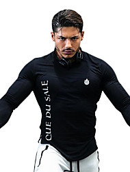 cheap -Men's Crew Neck Running Shirt Fashion Spandex Running Gym Workout Workout Top Long Sleeve Activewear Breathable Quick Dry Soft Stretchy