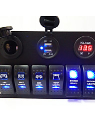 cheap -6 in 1 LED Rocker Switch Panel,Double Blue Light with USB Charger and Power Socket,Voltmeter,Dust Cover